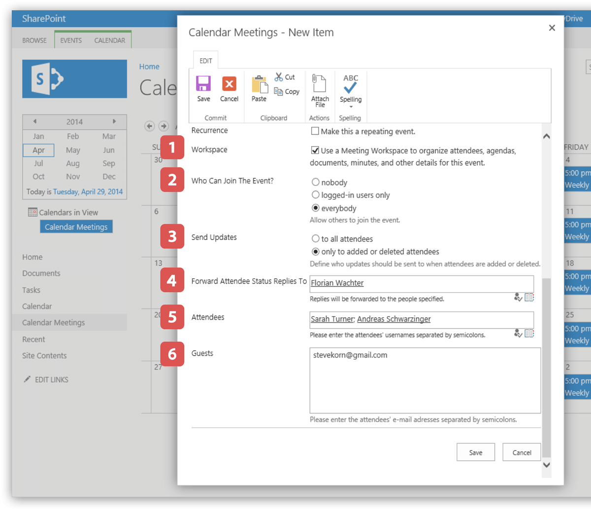 Send meeting request from SharePoint