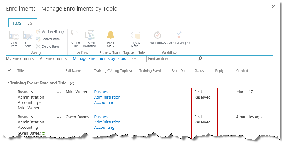Manage topic enrollments