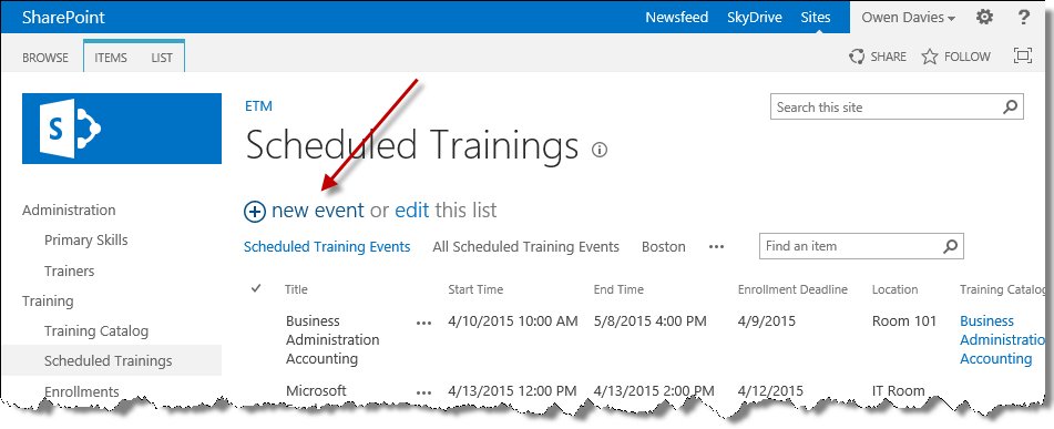 New event in scheduled trainings