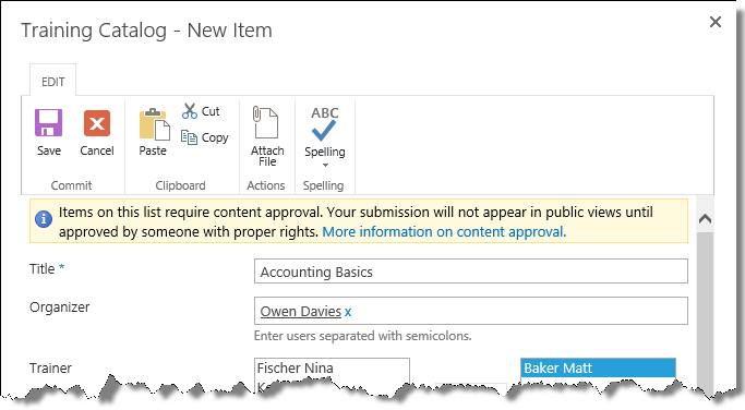 New item window in training catalog with content approval
