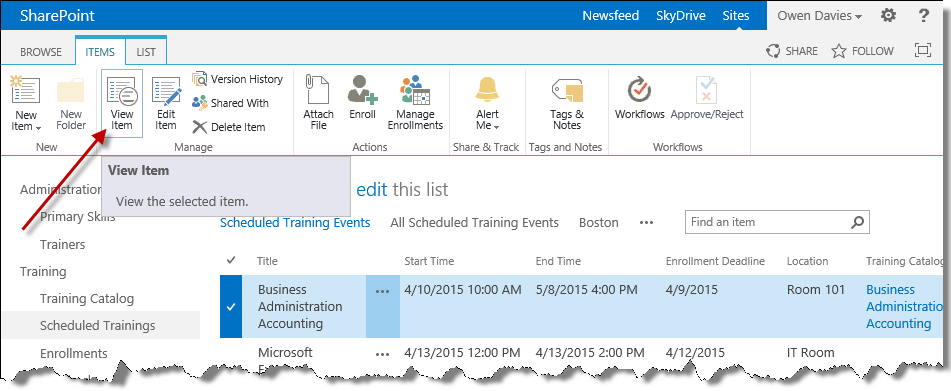 View item in scheduled trainings