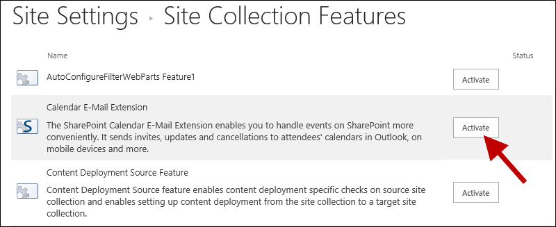 Activate site collection feature