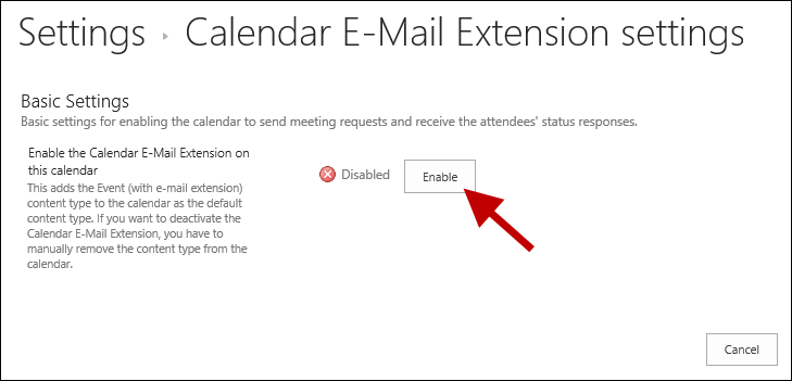Enable the Calendar E-Mail Extension