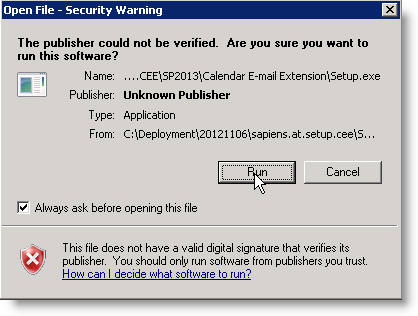 Ignore security warning