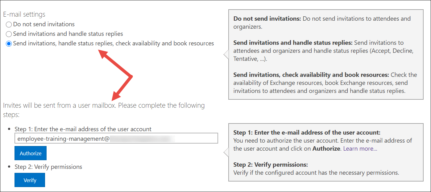 Configure E-Mail settings: Send invitations, handle status replies, check availability and book resources