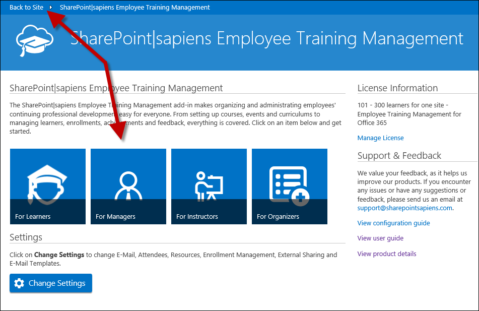 Go back to the SharePoint site