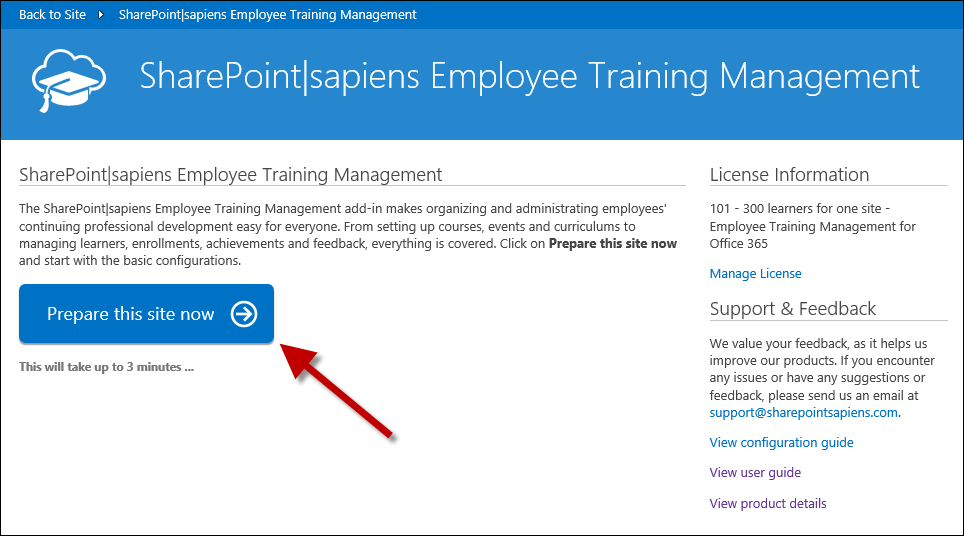 Prepare site to use Employee Training Management for Office 365