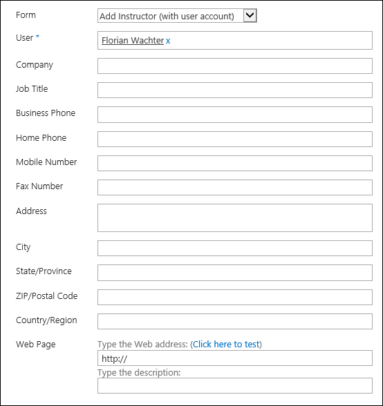Create instructor form