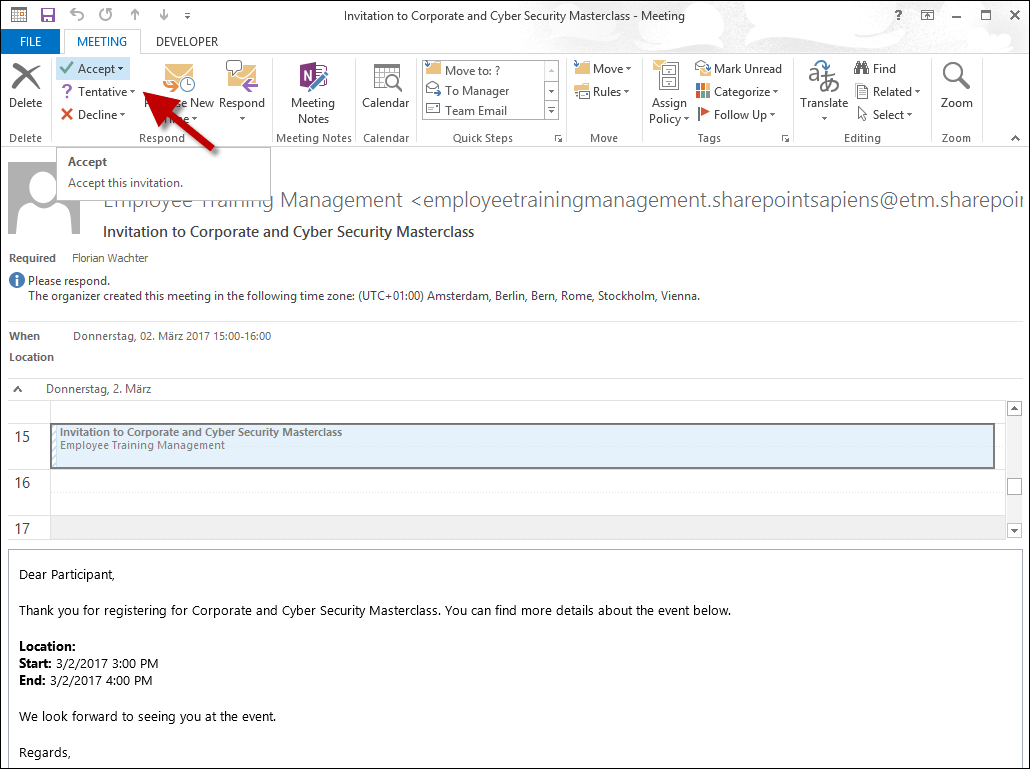Accept from Outlook