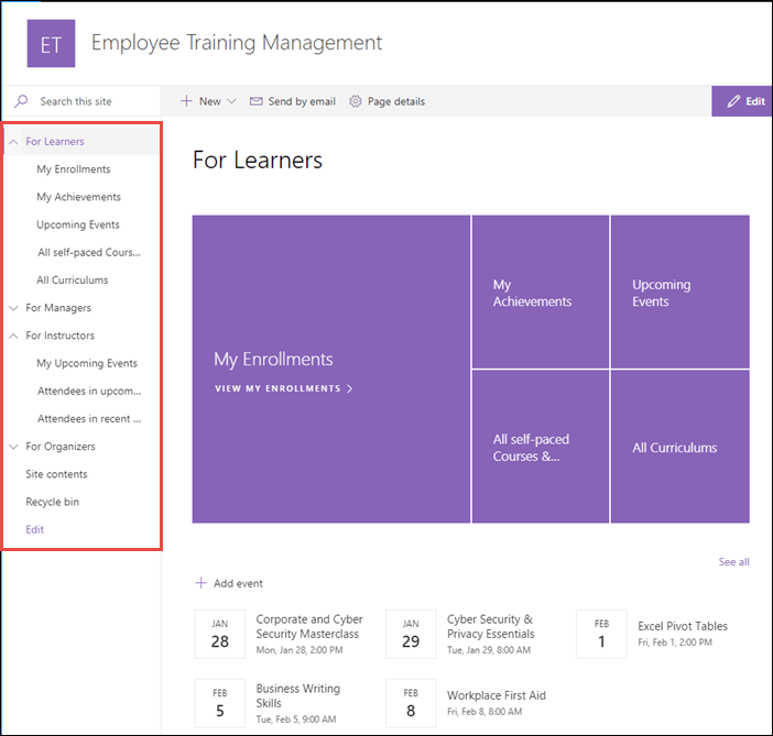 Welcome to Employee Trianing Management for Office 365