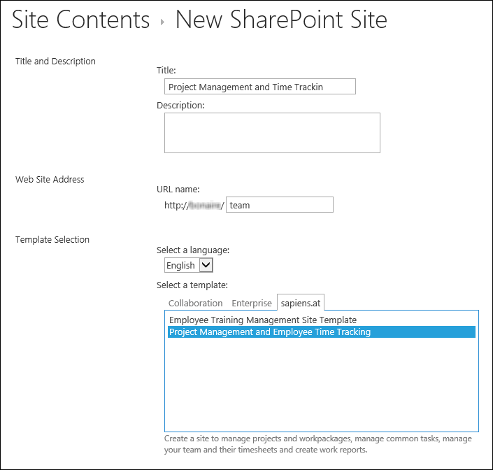sharepoint project management and time tracking configuration
