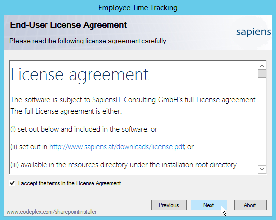 Setup: License Agreement