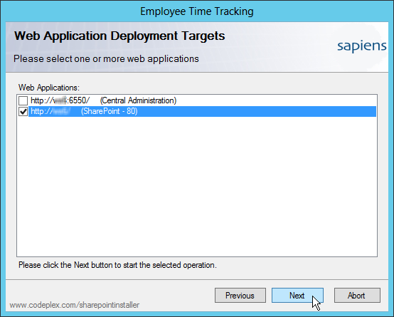 Setup: Select SharePoint Web Application