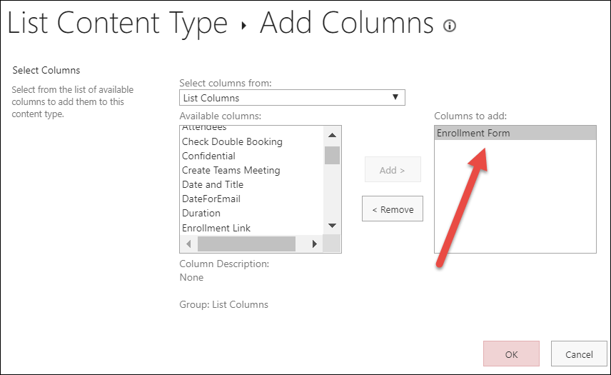 Add enrollment form column to content type