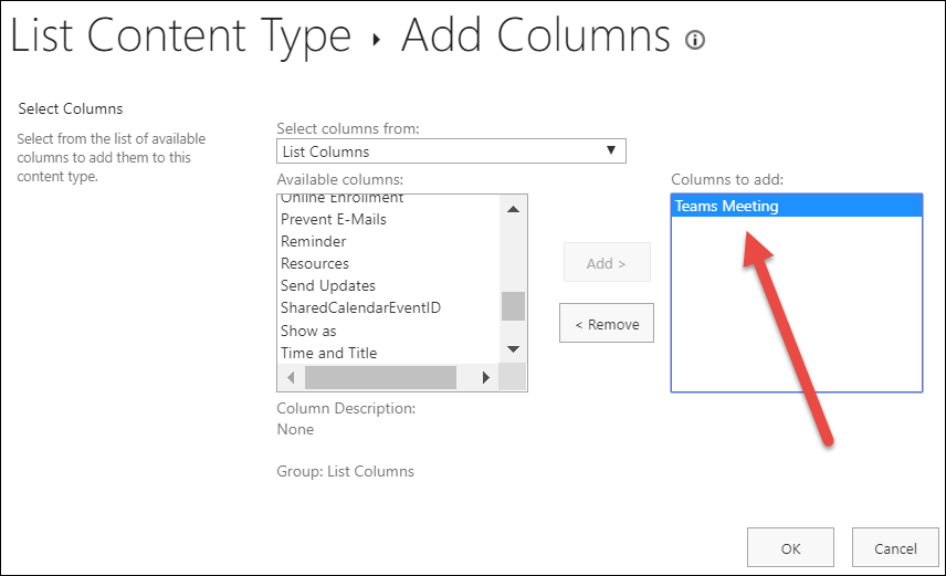 Add the teams meeting column to the EVMEvent content type