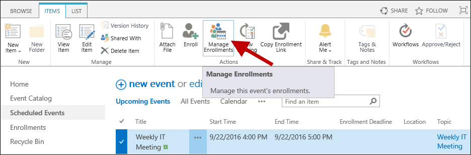Manage enrollments to event