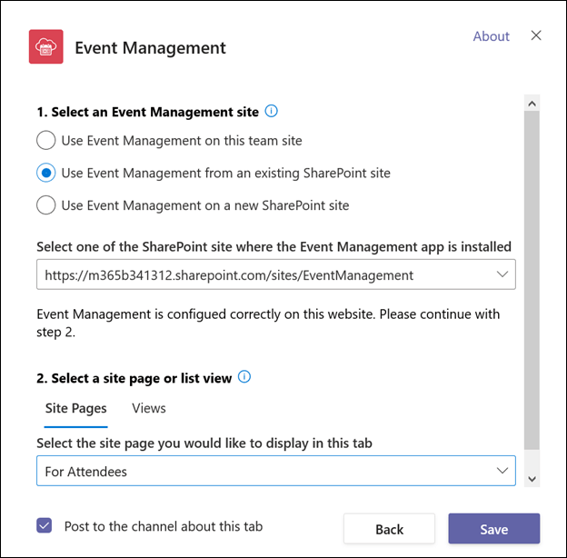 Create tab for attendees - select list view