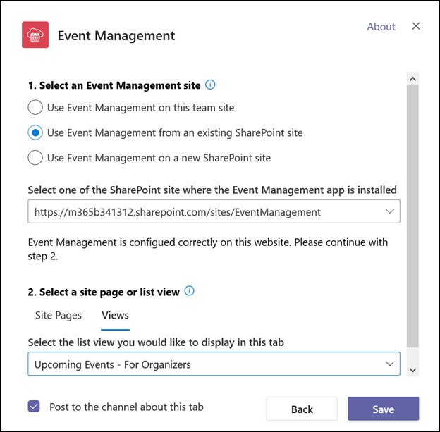 Create tab for organizers - select list view