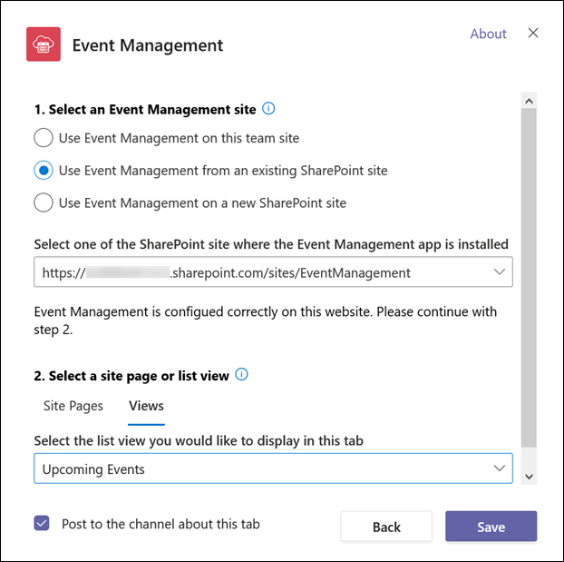 Select an Event Management site