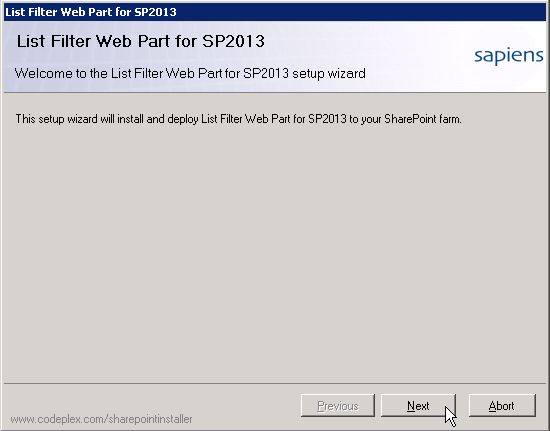 Welcome to the List Filter Web Part for SP2013 setup wizard