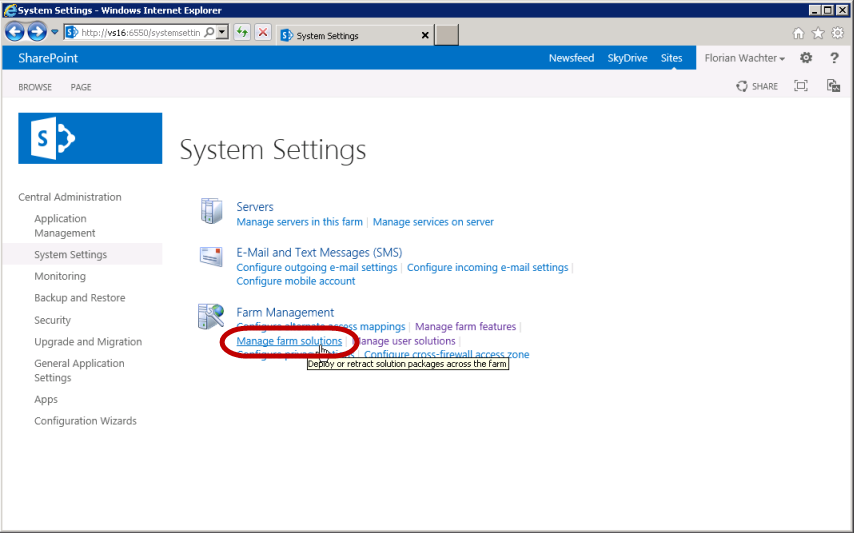 SharePoint Manage Farm Solutions