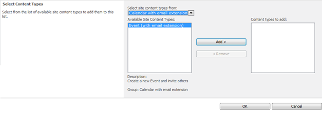 Add the Event (with Email Extension) content type to the list