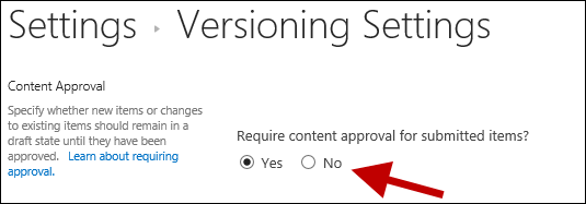 Enable content approval