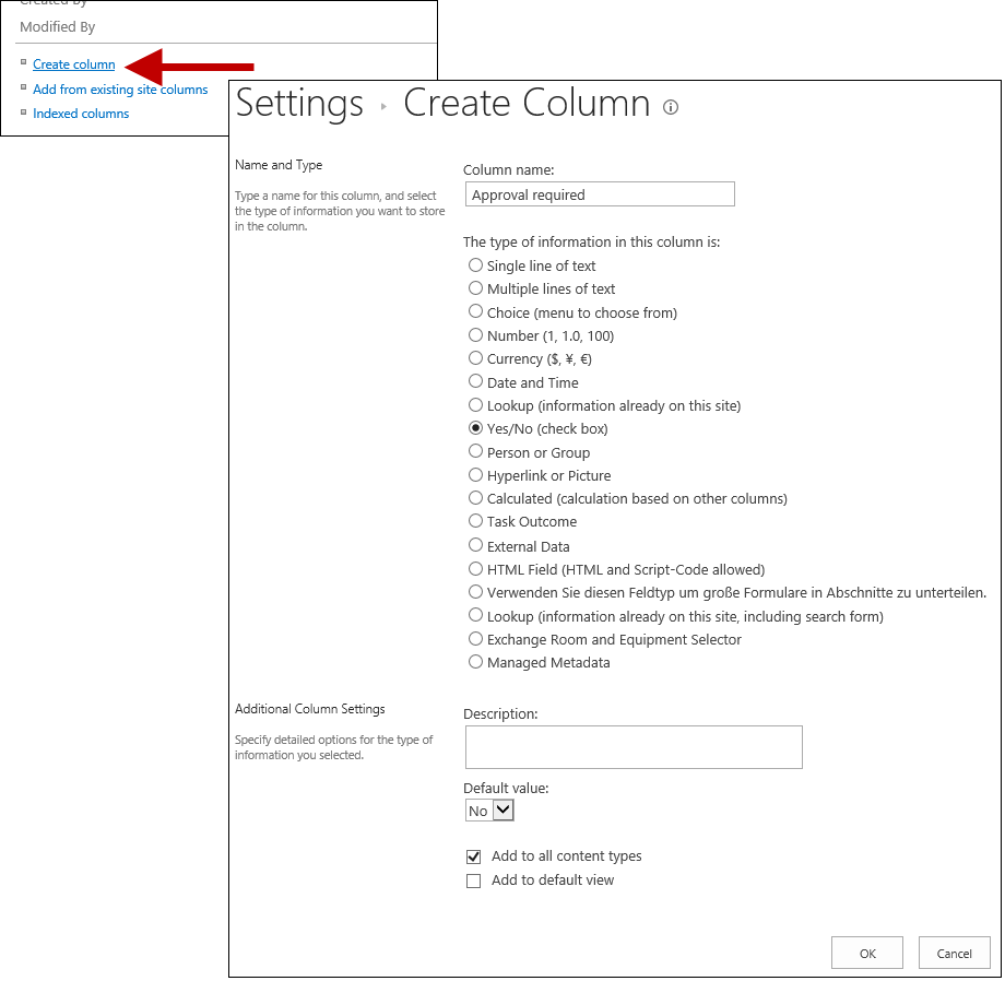 Create a new Yes/No column